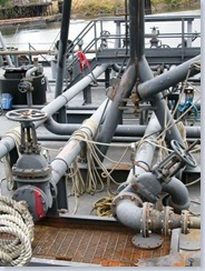 Pipes on oil and gas barge